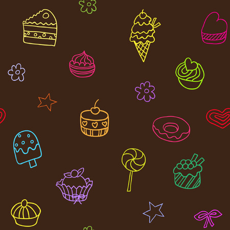 goodies: Seamless pattern with ice-cream, pie and cupcakes. Endless texture for wallpaper, fill, web page background, surface texture.