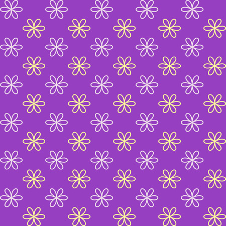 fond: Seamless pattern. Fond purple and yellow colors. Endless texture can be used for printing onto fabric and paper or invitation. Simple flower shape.