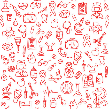 red bathrobe: Hand drawn medical seamless pattern. Vector Illustration Illustration
