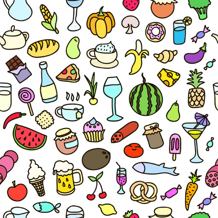 food stuff: Seamless pattern with food. Hand drawn vector. Good for backgrounds, fabric, kitchen and cafe stuff. Illustration
