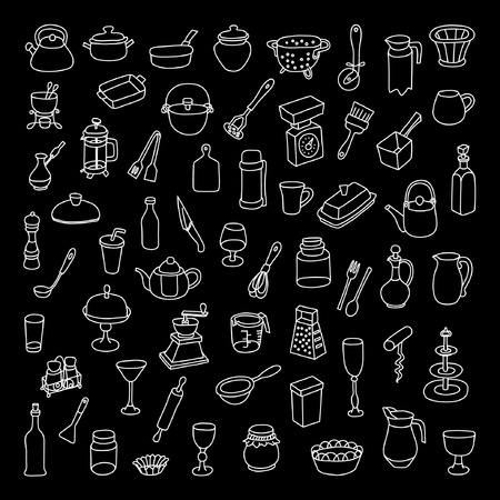 Set of 60 icons of different types of cookware. Hand drawn vector.
