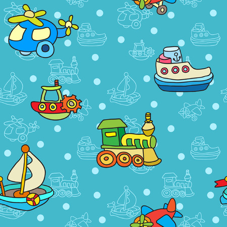 Seamless pattern with colorful childrens toys Illustration