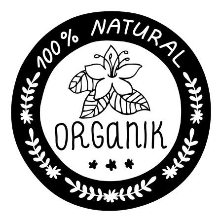 Ecology, organic icon. 100 natural organik. Çizim