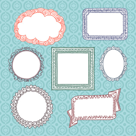 Exemplar: Curly frames and ornaments doodles