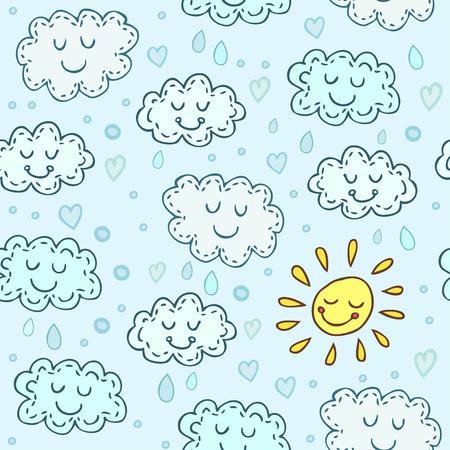 Blauw naadloos patroon met leuke wolken en zon. De glanzende achtergrond van kinderen. Eindeloze textuur kan worden gebruikt voor behang, opvulpatronen, webpagina-achtergrond, oppervlaktestructuur.