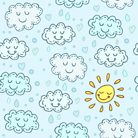 Blue seamless pattern with cute clouds and sun. Childrens shiny background. Endless texture can be used for wallpaper, pattern fills, web page background, surface texture.