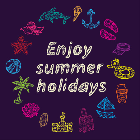 spanking: Enjoy summer holidays. Beach icons set