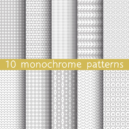 pink wallpaper: 10 monochrome seamless patterns for universal background. Gray and white colors. Endless texture can be used for wallpaper, pattern fill, web page background. Vector illustration for web design.