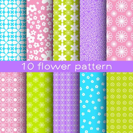 10 different flower vector seamless patterns. Çizim