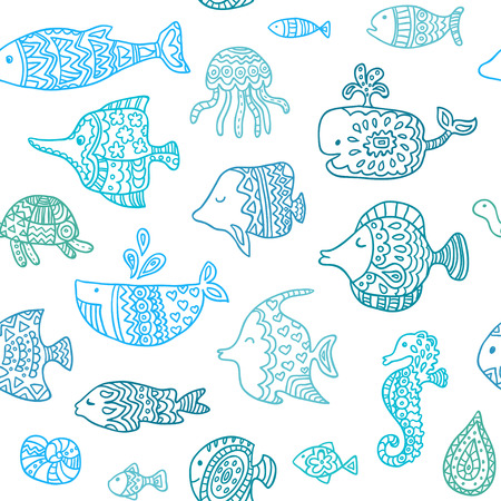 Seamless pattern with sea creatures Illustration