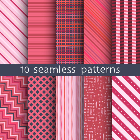 contrasty: 10 striped vector seamless patterns. Textures for wallpaper, fills, web page background. Set of geometric ornaments. Illustration