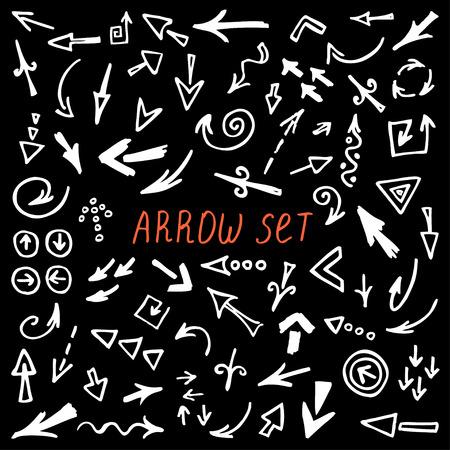 sketched arrows: arrows set, hand drawn arrows set, sketched style Illustration