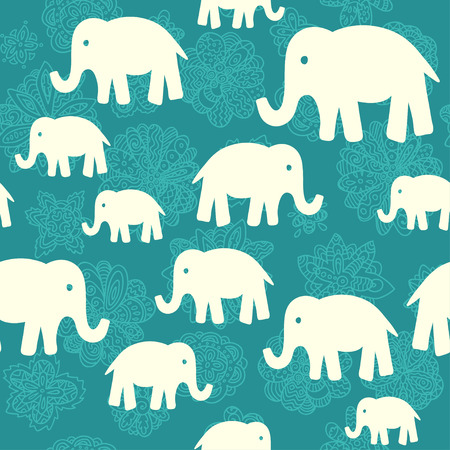 Naadloze vector patroon met olifanten. Kan worden gebruikt voor textiel, website achtergrond, cover van het boek, de verpakking. Stock Illustratie