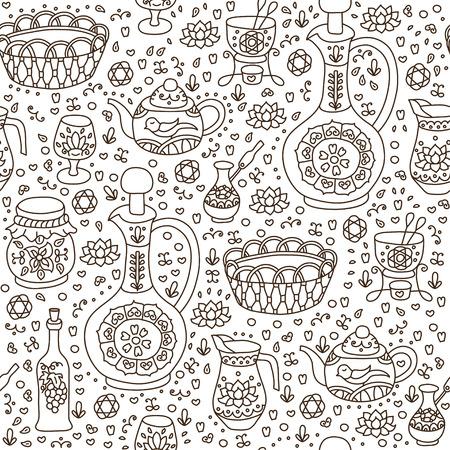 kitchen utensil: Set of Kitchen utensil. Vector seamless background. Illustration