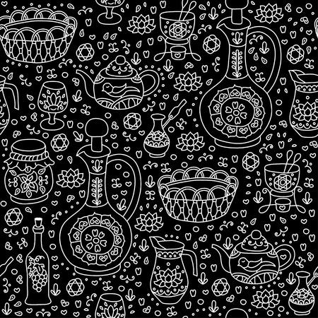 fondue: Set of Kitchen utensil. Vector seamless background. Illustration