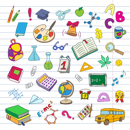 a literary sketch: Back to school on a exercise book sheet grid