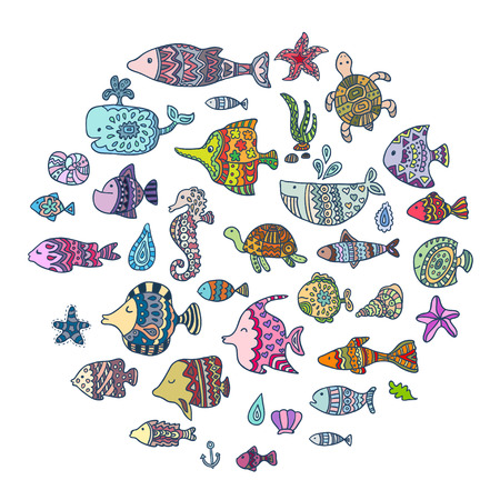 icon collection: vector sea animals Illustration