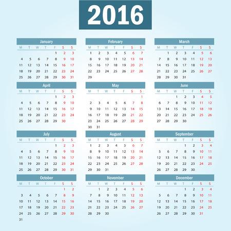1 2 month: Simple european 2016 year vector calendar Illustration