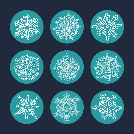 star symbol: Snowflakes set. Background for winter and christmas theme. Illustration