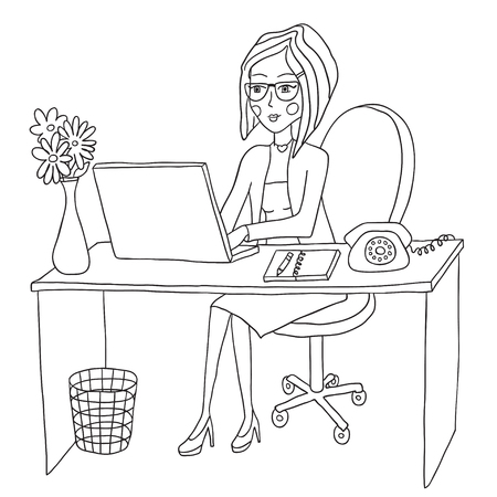 one girl only: business woman works behind the computer Illustration