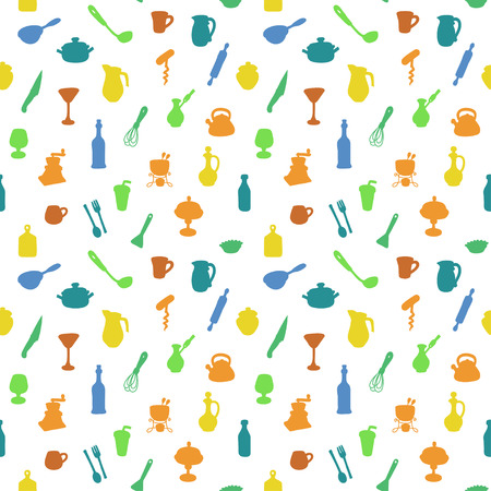 colander: Seamless kitchen pattern. Vector illustration. Textures for wallpaper, fills, web page background.