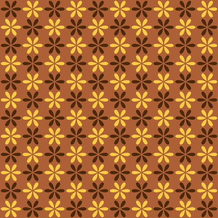fond: Seamless pattern. Fond brown and yellow colors. Endless texture can be used for printing onto fabric and paper or invitation. Simple flower shape. Illustration