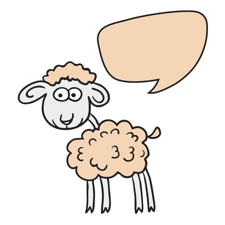 bubble pen: Sheep With Speech Bubble. Illustration card with hand drawn lamb and bubble speech. Beautiful vector design.