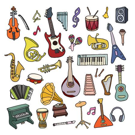 instrumentos musicales: Conjunto de Instrumentos de M�sica. Dise�o vectorial Hermosa Vectores