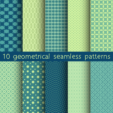 10 different vector seamless patterns. Set of green geometric ornaments. Endless texture can be used for wallpaper, pattern fills, web page background, surface textures.