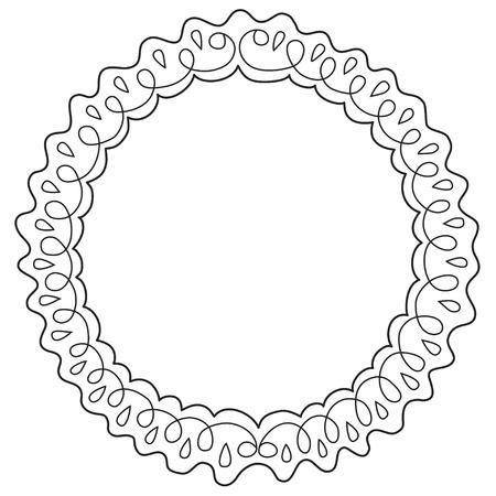marcos redondos: Vintage marco decorativo. Ilustración del vector. Boceto del marco de dibujo a mano. Diseño hermoso del vector.