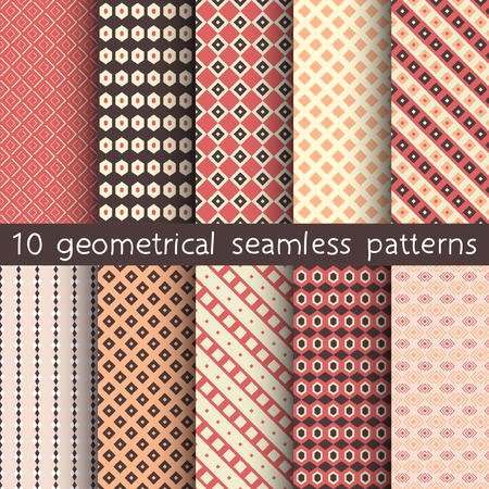 10 geometrical seamless patterns, Pattern Swatches, vector. Texture can be used for wallpaper, pattern fills, web page, background.