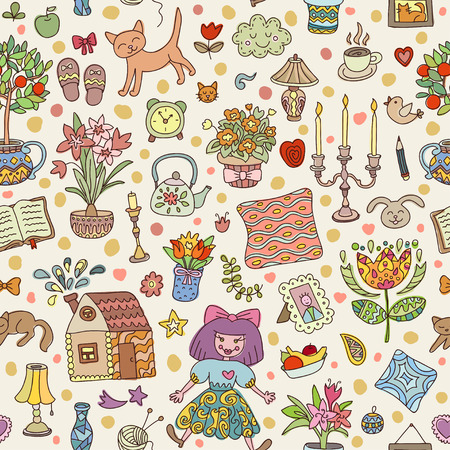 family home: Home sweet home. Seamless vector pattern with home interior doodles. Beautiful vector design.