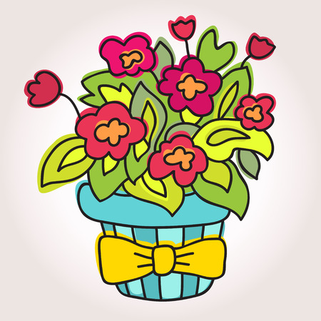 indoor bud: Spring Flower In Pot, Isolated On Gray Background, Vector Illustration. Beautiful vector design.