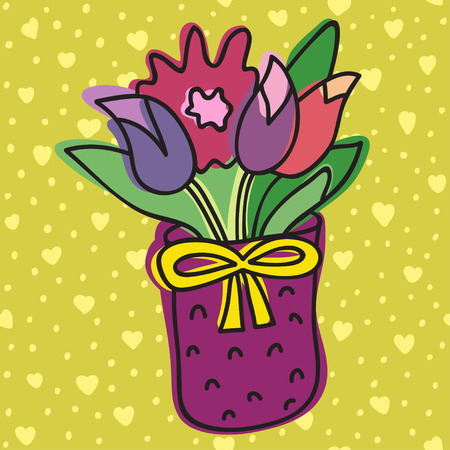 indoor bud: Spring Flower In Pot, Isolated On Background With Hearts, Vector Illustration. Beautiful vector design. Illustration