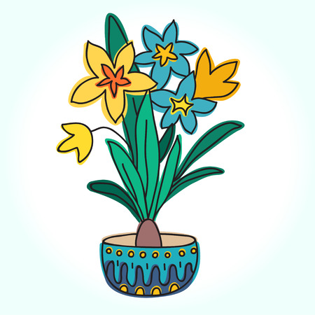 indoor bud: Spring Flower In Pot, Vector Illustration. Beautiful vector design.