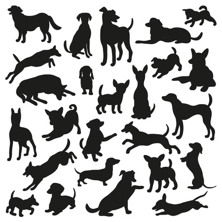 whelps: Set of dogs silhouette. Collection of 25 vector silhouette. Beautiful vector design.