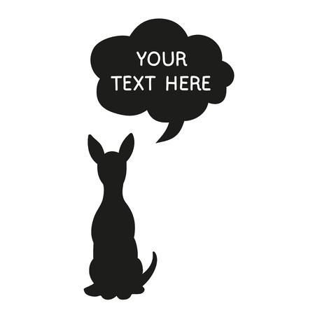 cute dog: Cute Dog Silhouette With Speech Bubble. Beautiful vector design. Illustration