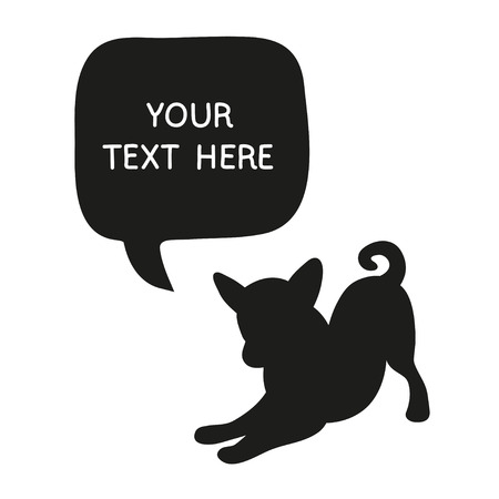Cute Dog Silhouette With Speech Bubble. Beautiful vector design. Illustration