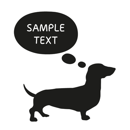 silhouette dog: Cute Dog Silhouette With Speech Bubble. Beautiful vector design. Illustration