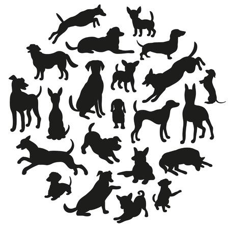 Set van honden silhouet. Verzameling van vector silhouet in cirkel. Mooie vector ontwerp.