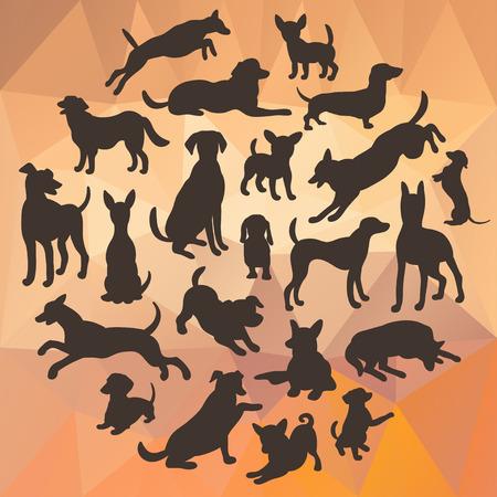 Conjunto de silueta de perros en el fondo abstracto poligonal. Colección de la silueta del vector en círculo. El diseño hermoso del vector. Vectores