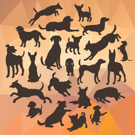 dog run: Set of dogs silhouette on abstract polygonal background. Collection of vector silhouette in circle. Beautiful vector design.