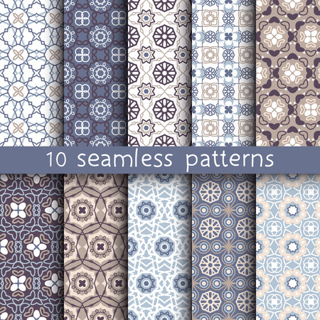 10  vintage patterns for universal background. Endless texture can be used for wallpaper, pattern fill, web page background. Vector illustration for web design.