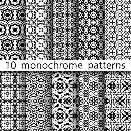 10 einfarbige Weinlesemuster für universellen Hintergrund. Schwarz-Weiß-Farben. Endless Textur kann für Tapete, Musterfüllung, Webseitenhintergrund verwendet werden. Vektor-Illustration für Webdesign.