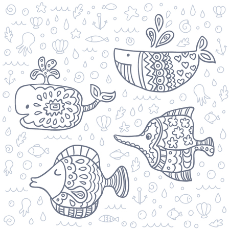 and marine life: cute marine life doodle set. Coloring book sea.