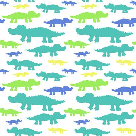 alligator cartoon: Cartoon cute crocodiles seamless pattern. illustration for your cute design.