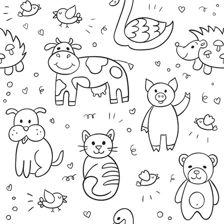 swan: seamless pattern with different hand drawn illustrations of animals and birds such as cow, cat, dog, pig, bear, hedgehog, swan. Can be used for textile, website background.