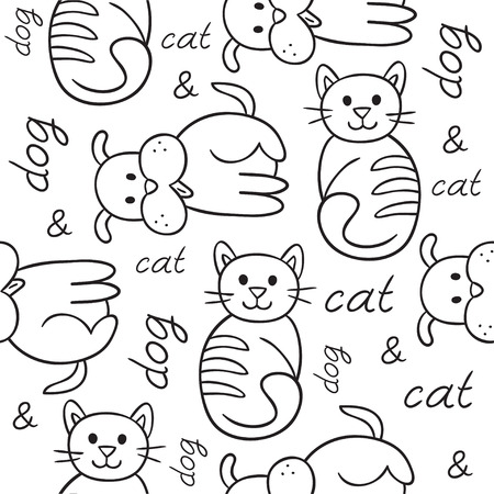 mess: Seamless pattern with cat and dog puppy and kitten. Domestic animals, illustration of best friends. illustration for your cute design.