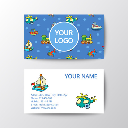 toy shop: Business card with kids toys. Template corporate style for toy shop.