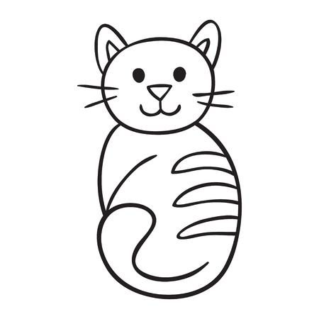 domestic animal: Pet animal cat kitten. Domestic animal, illustration of best friend. Vector illustration for your cute design.